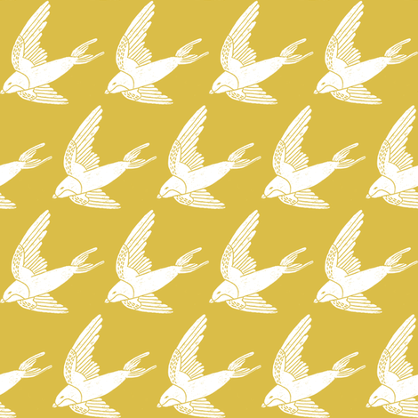 swallow // woodland bird nature animal swallows nursery fabric mustard fabric by andrea_lauren on Spoonflower - custom fabric