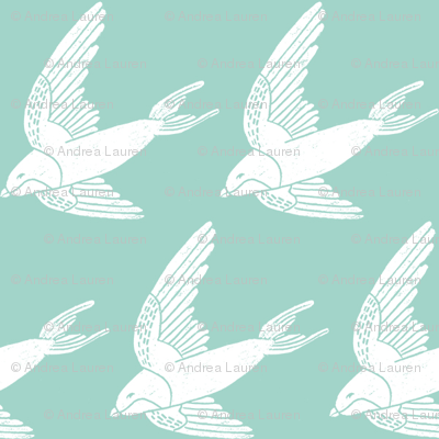 swallow // woodland bird nature animal swallows nursery fabric mint