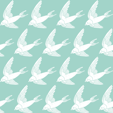 swallow // woodland bird nature animal swallows nursery fabric mint fabric by andrea_lauren on Spoonflower - custom fabric