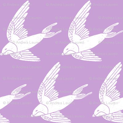 swallow // woodland bird nature animal swallows nursery fabric lilac