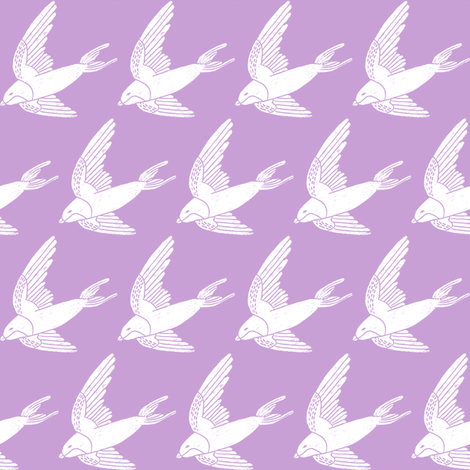 swallow // woodland bird nature animal swallows nursery fabric lilac fabric by andrea_lauren on Spoonflower - custom fabric