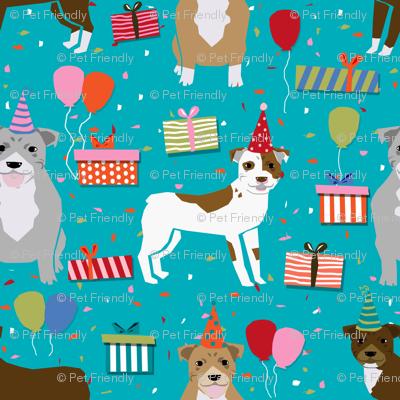 pitbull birthday party fabric cute pitbulls design