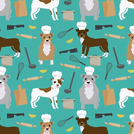 pitbull chef fabric cute dogs in the kitchen design pitbulls cooking fabric - turquoise fabric by petfriendly on Spoonflower - custom fabric