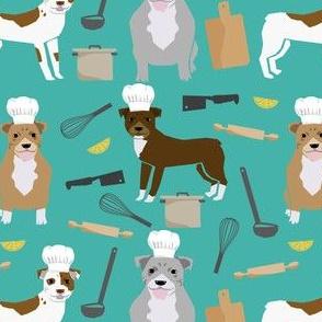 pitbull chef fabric cute dogs in the kitchen design pitbulls cooking fabric - turquoise