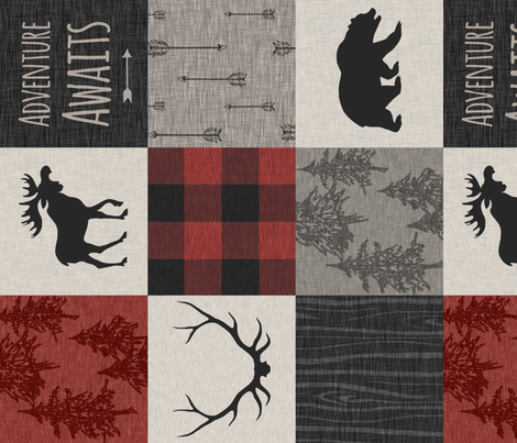 Adventure Awaits Quilt- Red, Black, Taupe, Cream - Rotated fabric by sugarpinedesign on Spoonflower - custom fabric