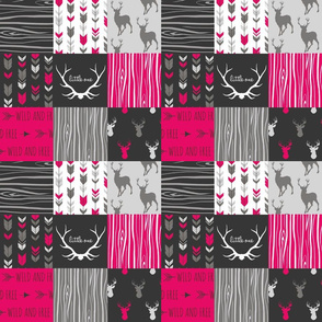 "3"" Patchwork Deer - Fuchsia, Black, grey -"
