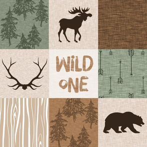 Wild One Quilt - green and brown - bear,  moose, deer, antlers, hunter
