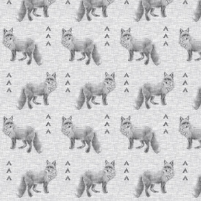 Fox and Arrows on Linen - Grey