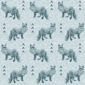 Fox and Arrows on Linen - Teal