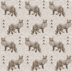 Fox and Arrows on Linen - mocha