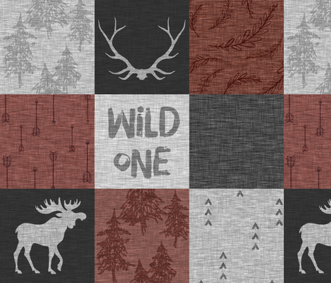Wild One - burgundy and greys linen fabric by sugarpinedesign on Spoonflower - custom fabric