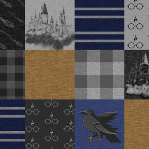 Witches and Wizards- Bronze, Navy and Royal Blue and Grey - Raven- Castles - Brooms
