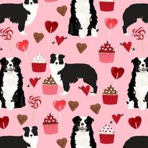 Australian shepherd dog fabric aussie valentines day design - pink