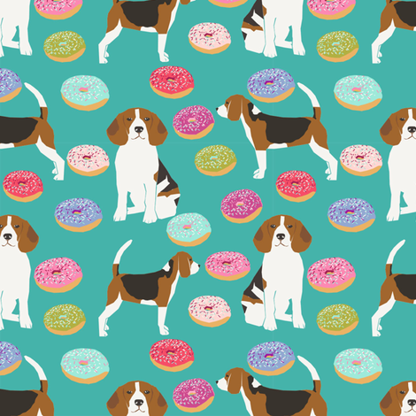 beagle donut fabric cute beagles and donuts design - turquoise fabric by petfriendly on Spoonflower - custom fabric