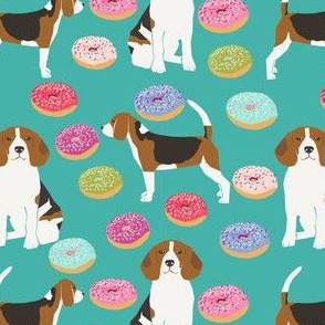 beagle donut fabric cute beagles and donuts design - turquoise