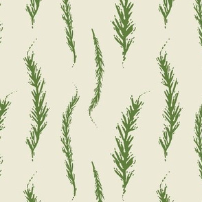 Woodcut Rosemary Herb Leaves, Olive Green on Off White, Food