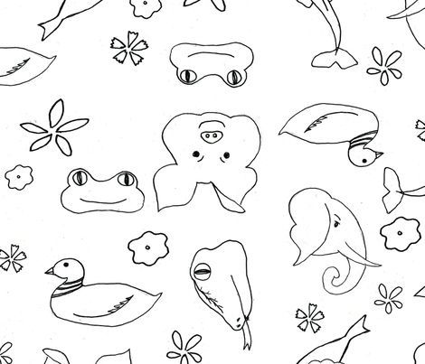 coloring_book_animals fabric by jennross76 on Spoonflower - custom fabric