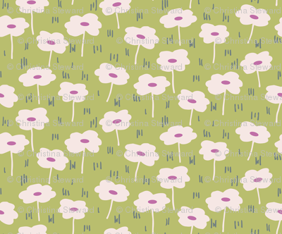 Daisy Dreams Floral Pink and Green