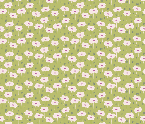 Daisy Dreams Floral Pink and Green fabric by christina_steward on Spoonflower - custom fabric