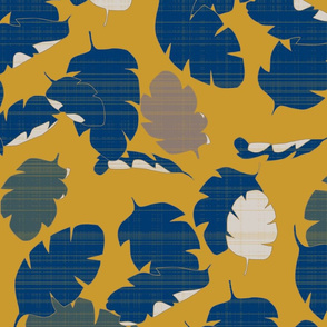 Navy Gold Banana Leaves