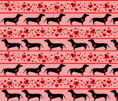 Dachshund Hearts fabric by dogdaze_ on Spoonflower - custom fabric