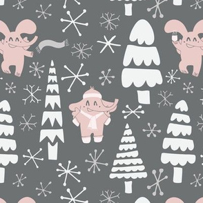 elephants in winter