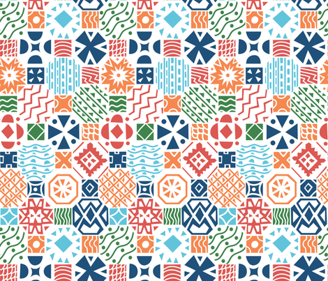 geometrical floor tiles bright colors fabric by natalia_gonzalez on Spoonflower - custom fabric