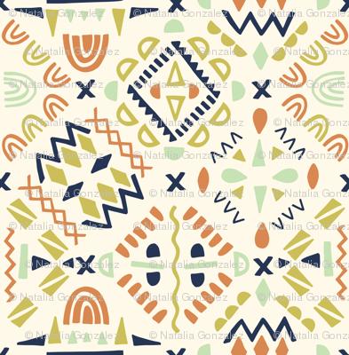 geometric tribal orange