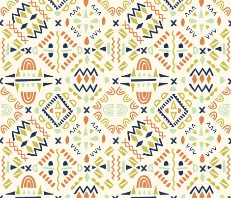 geometric tribal orange fabric by natalia_gonzalez on Spoonflower - custom fabric