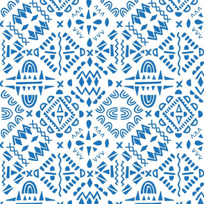 geometric tribal blue