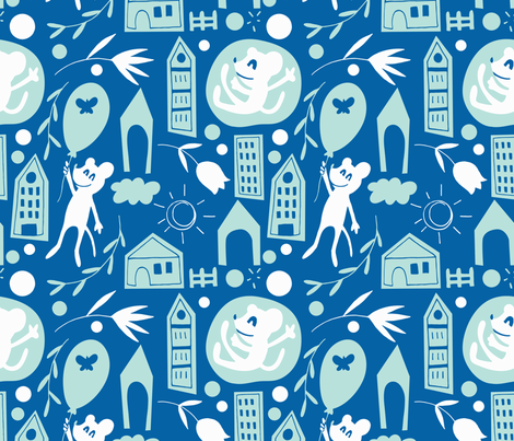 flying mice neutral colors fabric by natalia_gonzalez on Spoonflower - custom fabric