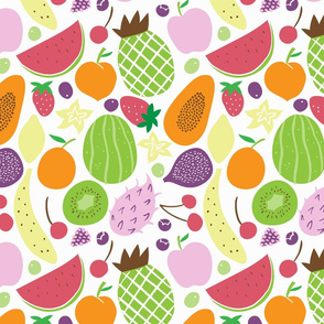 fruits pattern white