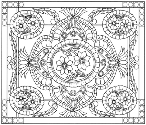 Flowers and Flyers Coloring Book Page 1 - Design Entry fabric by claldridgeart on Spoonflower - custom fabric