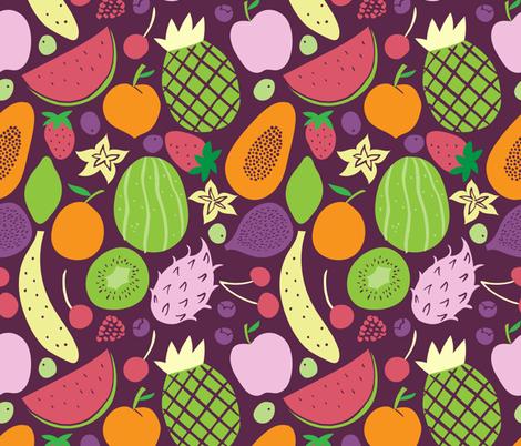fruits pattern dark fabric by natalia_gonzalez on Spoonflower - custom fabric