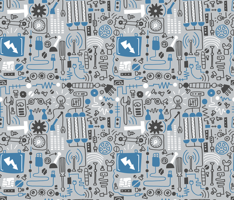 inside the robot fabric by natalia_gonzalez on Spoonflower - custom fabric