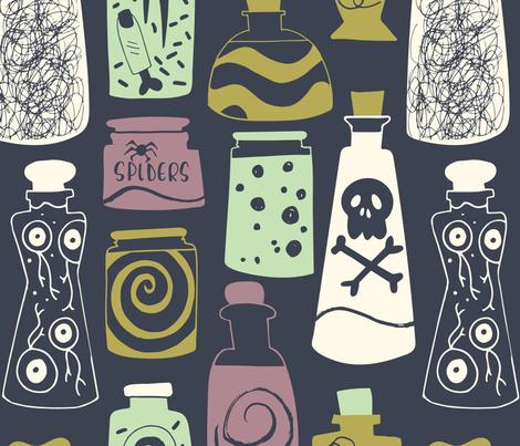 halloween magic potions dark grey fabric by natalia_gonzalez on Spoonflower - custom fabric