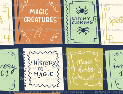 halloween magic books dark blue
