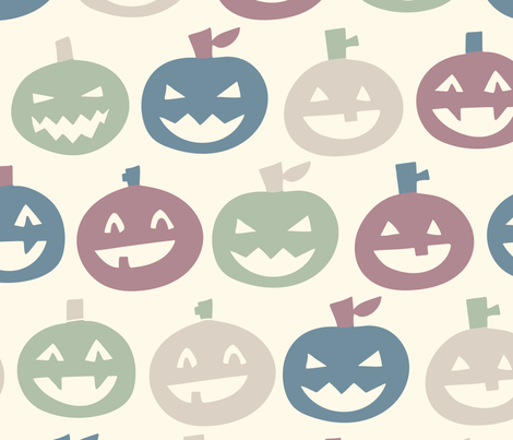 halloween pumpkins light fabric by natalia_gonzalez on Spoonflower - custom fabric