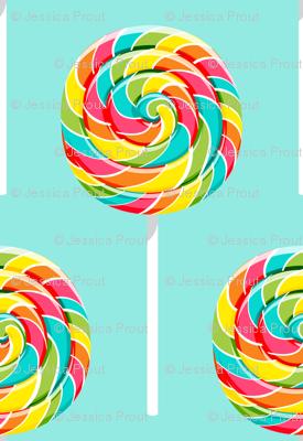 whirly pops -  multi on blue - lollipop fabric