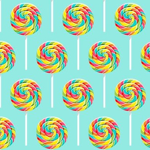 whirly pops -  multi on blue - lollipop fabric