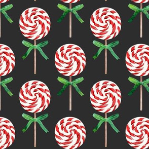 whirly pop - Christmas red and white on dark grey