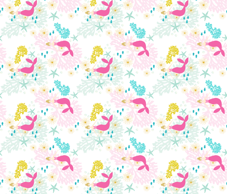 pink maui mermaids // blonde // rotated fabric by ivieclothco on Spoonflower - custom fabric