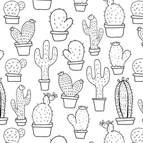 Cactus Doodles - Black & White