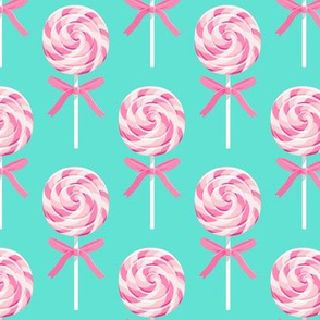 whirly pop - pink on blue - lollipop fabric