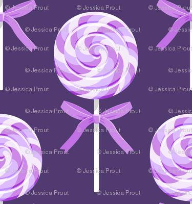 whirly pop -purple on purple- lollipop fabric