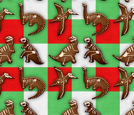 Gingerbread Dinos fabric by whimsicalvigilante on Spoonflower - custom fabric