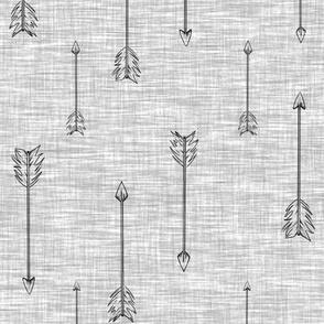 Arrows on Linen - Grey