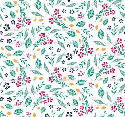 Block Print Berries and Flowers  in White