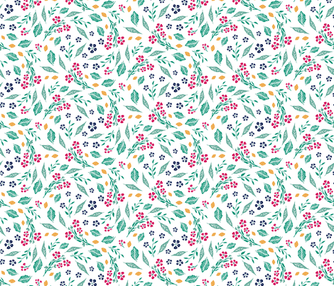 Block Print Berries and Flowers  in White fabric by jacquelinehurd on Spoonflower - custom fabric