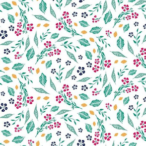 Block Print Berries and Flowers  in White